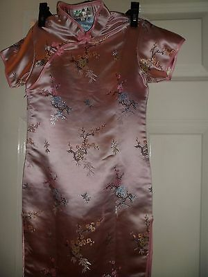 "Chinese style pink dress age12,28""dressing up outfit,side zip, 2 slits, short/S"