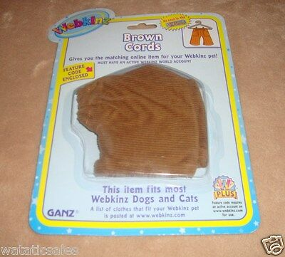 Webkinz Pet Clothing Brown Cords Pants for Dogs & Cats Ganz New w Feature Code