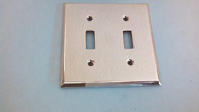 Vintage Shiny Brass Double  Toggle Switch Plate Never Used
