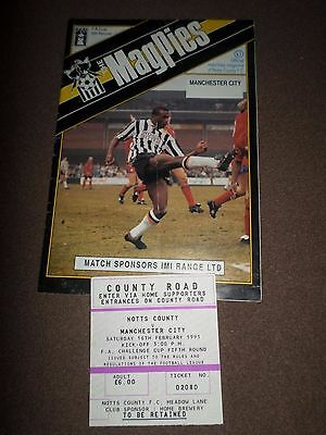 Notts County v Manchester City 1991 FAC Rd5 Programme & Ticket