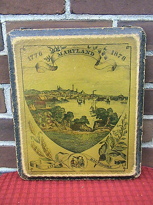 Maryland 1776-1876 City Of Baltimore Wooden Plaque