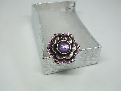 "Cocktail Ring Adjustable Silver Tone Purple Enamel Cabochon 1 1/4"" Face CUTE"