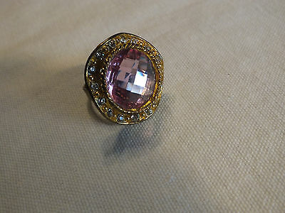 "Cocktail Ring Adjustable Gold Tone Pink & Clear Rhinestones 1 1/4"" Face CUTE"