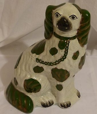Large Copper Luster Staffordshire Dog Figurine King Charles Spaniel