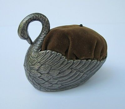 Vintage Metal Swan Pincushion
