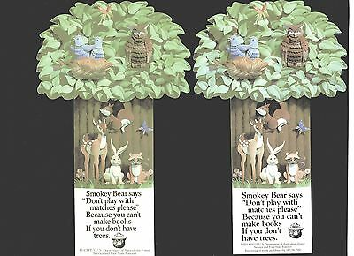2 Smokey Bear bookmarks--Different design, different years--- 1985,1993