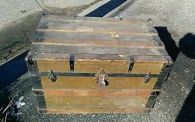 Antique Victorian Steamer Traveling Chest Trunk