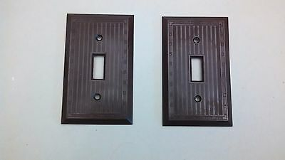 2 Vintage Original Brown Bakelite  Switch Plates Art Deco  Design