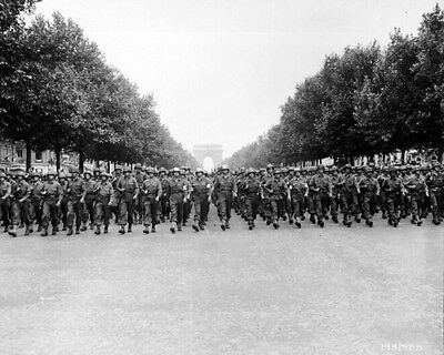 New 8x10 World War II Photo: Parade Down Champs Elysees after Paris Liberation