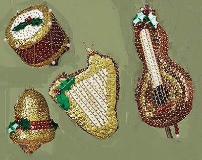 Kit makes 4 Holiday Music Christmas Ornaments  Beads,Sequins cello, drum, harp