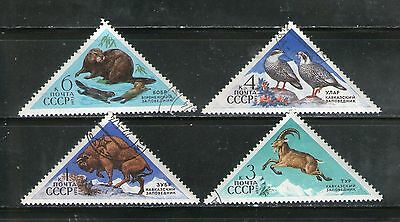 Russia : 4 Diff. Commemo. Stamps On Wildlife (Triangular)-1973, Fu, #43