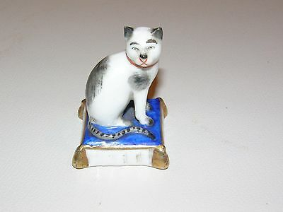 Vintage Antique Gold Anchor Marked German Porcelain Cat Sitting On Pillow