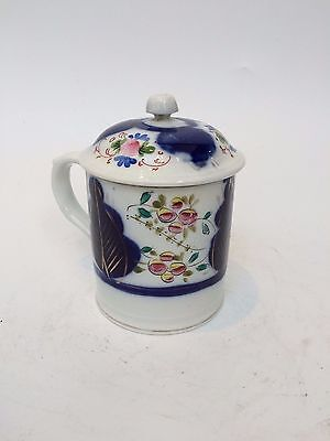 Antique Russian Kuznetsov Porcelain Blue Floral Cup with Lid