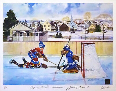Maurice Richard and Johnny Bower Signed Litho 19 x 16 COA T1M Sports