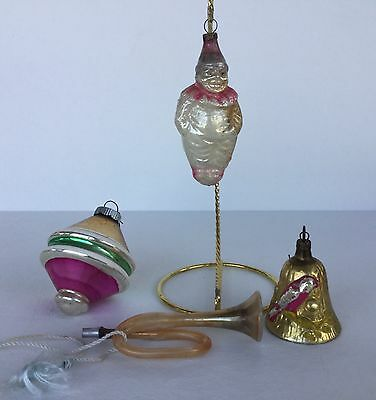 Antique Vintage Christmas Ornaments Clown Horn Bell WWII
