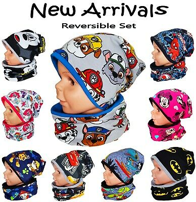 Baby kid girl boy hat with tube scarf cotton reverse 2 pcs set size1-3-10 years