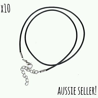 10 Black Waxed Necklace Cord Lobster Clasp Rope Cotton 18inch Findings Jewellery