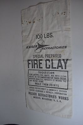 Vintage Kaiser Refractories Special Fire Clay Cloth Canvas Bag Sack