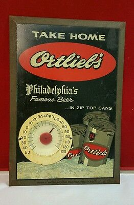 Vintage Rare ORTLIEB'S Beer Zip Can Thermometer Advertising Sign Philadelphia PA