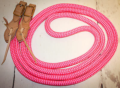 "Yacht rope reins 5/8""  with slobber straps hot pink"