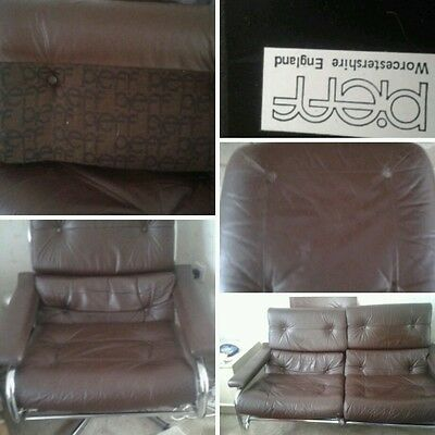 Pieff arm chair,  foot stall and 2 seater sofa all original leather and crome