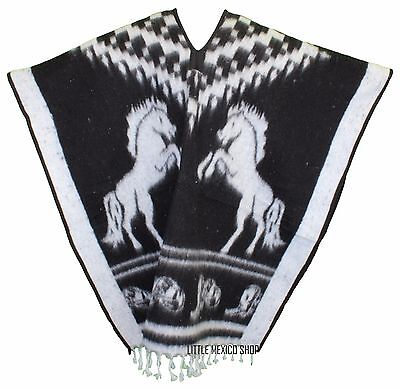 HEAVY BLANKET Mexican Poncho COWBOY 4 BLACK ONE SIZE FITS ALL Gaban