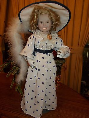 """Bright Eyes"" Shirley Temple Collector Doll & Stand Danbury Mint 1992 Excellent"