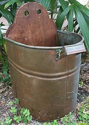 Antique Copper & Wood Planter Wall Handmade Rustic Large Holiday Arrangement