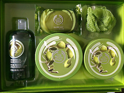 The Body Shop Gift Set Olive Body Butter, Scrub, Shower Gel, & Soap +1 Loofa