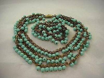 Gorgeous Miriam Haskell Brass And Faux Turquoise Necklace Bracelet Set (ST708)