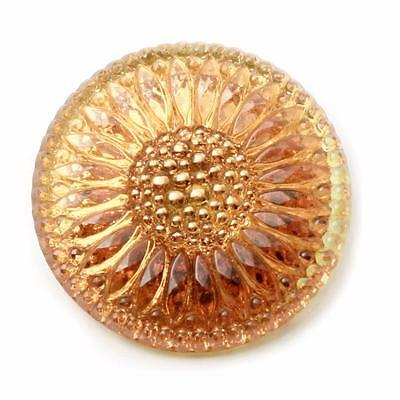 (1) 32mm Vintage Czech reverse copper mirror gold gilt sunflower glass button