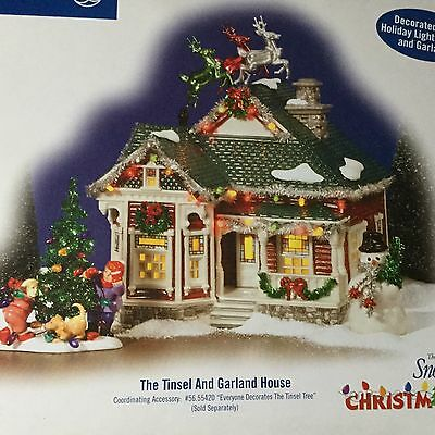 Dept 56 Snow Village® TINSEL & GARLAND HOUSE Christmas Lane - BRAND NEW