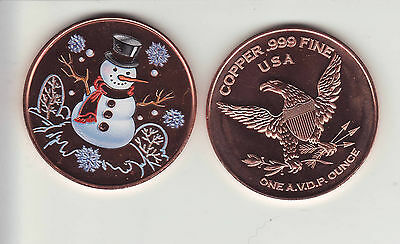 """SNOWMAN  1 oz. Copper Round """"Colorized"""" Christmas Coin"""