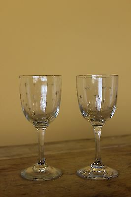 Antique Victorian Wine Glasses. Star pattern.
