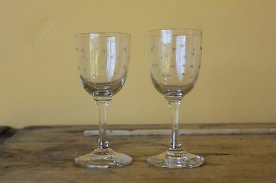 Pair of Antique Victorian Wine Glasses. Star pattern.