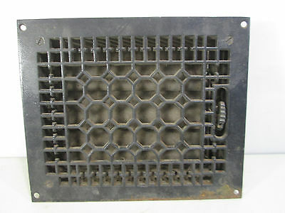"Vintage Cast Iron Honeycomb Floor Grate with Damper 11"" x 9"" ASG#19"