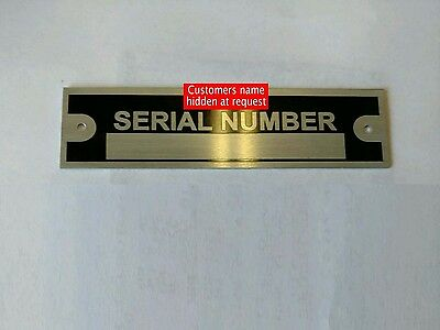 One Serial Number Plate Hot Rod Data Identification Vehicle Id Tag Vin Free Ship