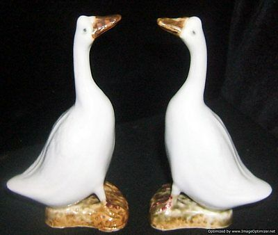 Antique Pair Chinese Porcelain Geese Figures Marked China Early 20th C.