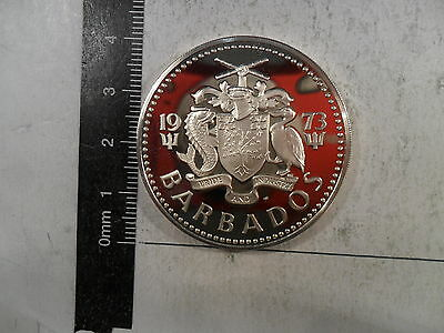 1973-FM 5 DOLLARS SILVER COIN BARBADOS PROOF BU LOW MINTAGE: 97,000 KM-16a *
