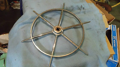 VINTAGE Nautical Stainless Steel Ships Wheel
