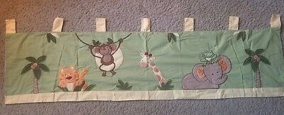 """NoJo Jungle Babies Window Valance CLEAN & Gently Used 60"""" x 18"""""""