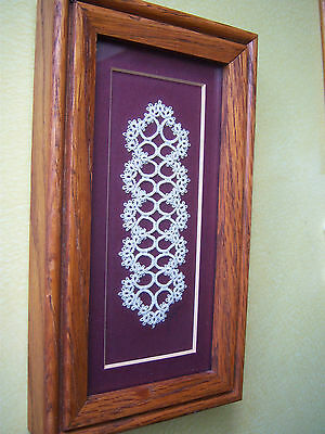 Completed  Small Tatting Lace Framed and Signed -Lincoln Nebraska