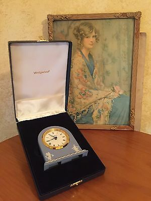 VINTAGE WEDGWOOD JASPER WARE BLUE MANTLE CLOCK Like New In Box