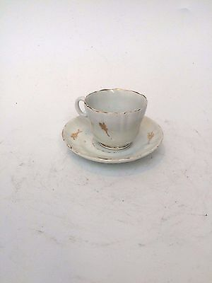 Antique Russian Kuznetsov Porcelain Gilt Leaf Cup and Saucer