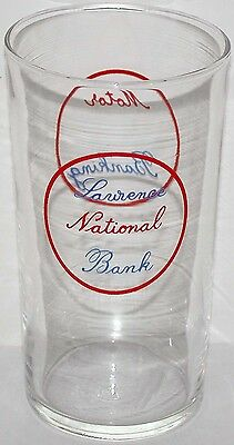 Vintage glass LAWRENCE NATIONAL BANK Motor Banking Lawrence Kansas n-mint+ cond