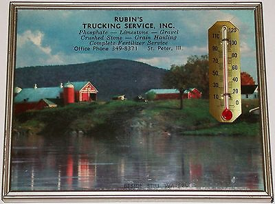 Vintage thermometer RUBINS TRUCKING SERVICE INC St Peter Illinois 1962 calendar