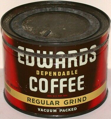 Vintage tin EDWARDS DEPENDABLE COFFEE half pound key wind with correct lid exc+