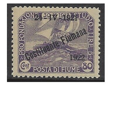 FIUME 1922 80c Violet VENETIAN GALLEY OVERPRINT Unhinged Mint SG196