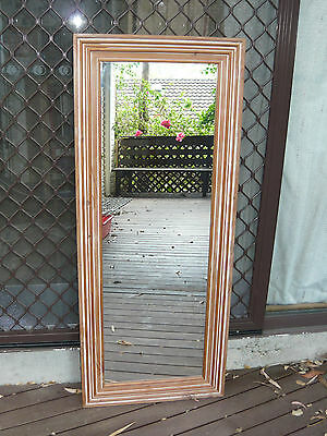 Vintage Large Size Wall Dress Mirror w/ Timber Frame ~ French Provincial style