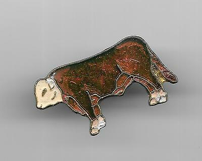 Vintage Whiteface Horned Hereford Cow Cattle old enamel pin